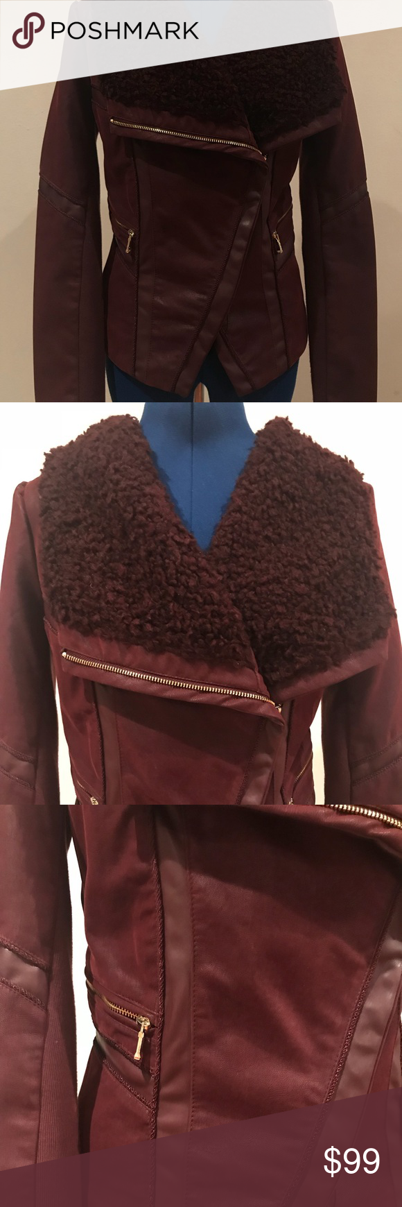 Guess burgundy faux leather/fur jacket size S Excellent