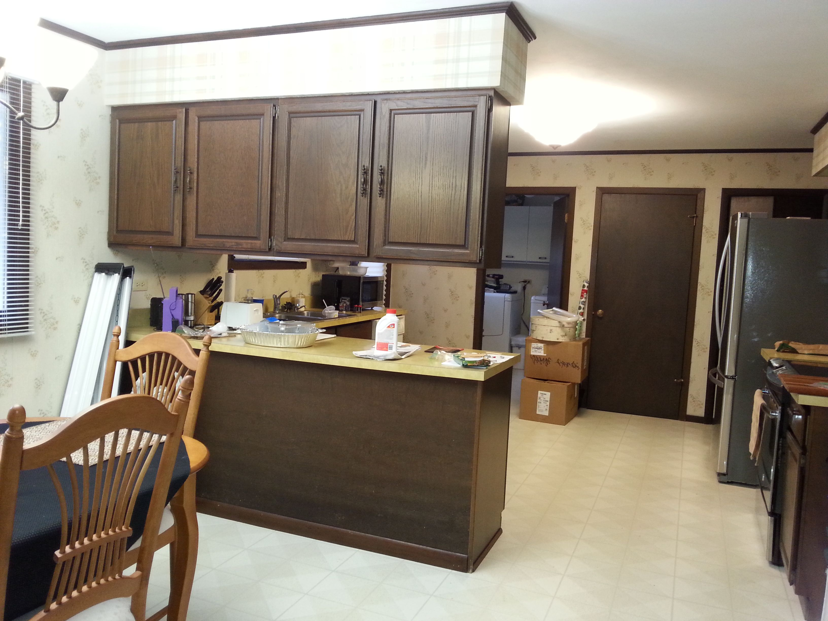 1974 Dark Kitchen To Be Redone Demo Includes Removing Cabinets 2 Layers Of Wall Paper 2 Layers Of Sheet Laminate Laminate Flooring Flooring Dark Kitchen