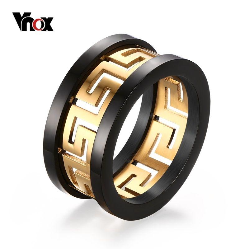 Vnox uomo hollow anello chiave greco di modo di disegno titanium acciaio monili del partito alla moda