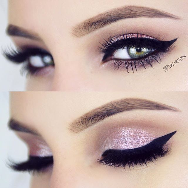 soft pink shimery eye with dramtic winged liner ~  we ❤ this! moncheribridals.com