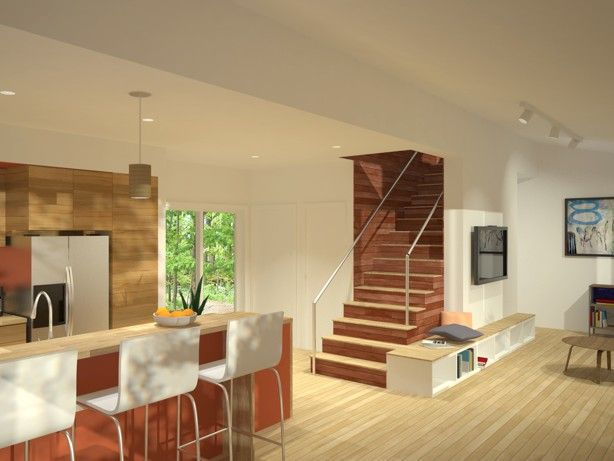 I Like The Idea Of The Wood Stairs But Would Prefer To See An Open Stair Case Prefab Homes Home Prefab