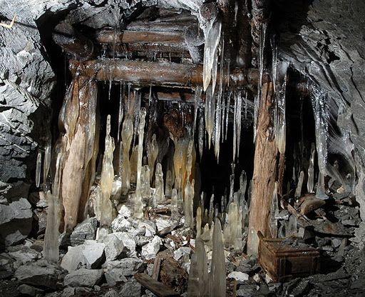 "Inside the ""slyudo"" mines (muscovite: potassium mica), dating from the times of Stalin's Gulags and abandoned since 1961. (it's located near the city of Kyshtym, Chelyabinsk region) (notice the ice stalagmites)"
