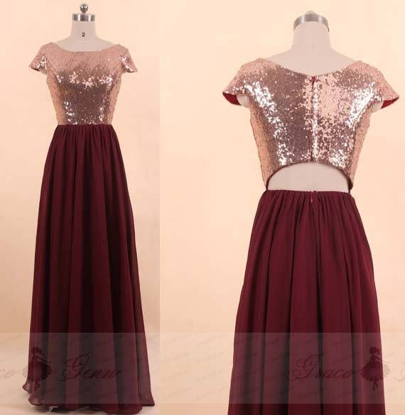 559bf16c36 Bridesmaid Dress Gold Burgundy Sequin