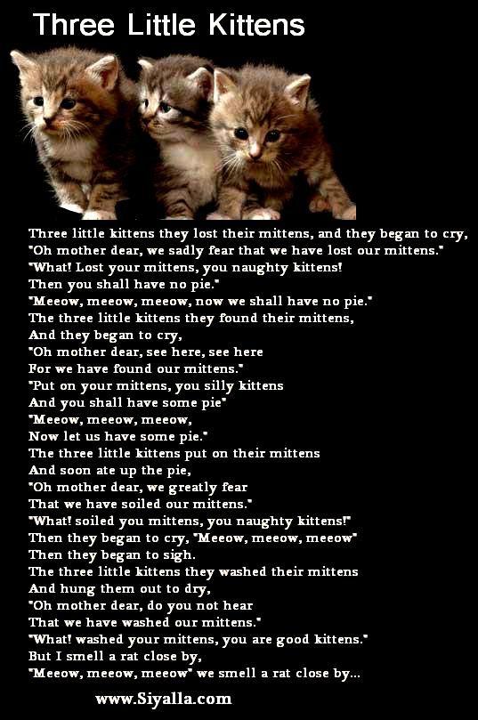 Three Little Kittens Nursery Rhyme Three Little Kittens