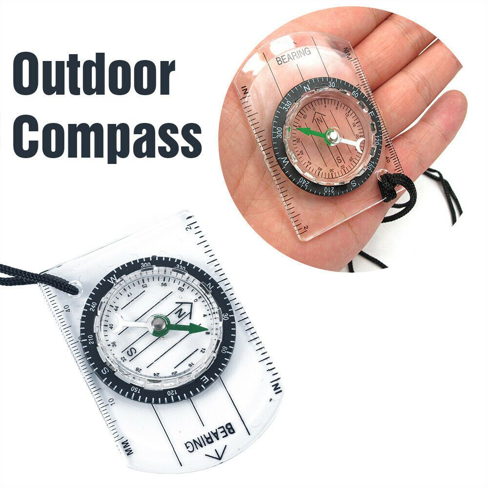 Outdoor Military Mini Compass Scale Ruler Baseplate For Camping Hiking ZY