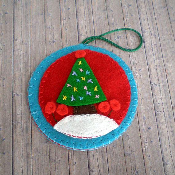 100 Wool Felt Christmas Tree Ornament by FeltLikeChristmas Emb