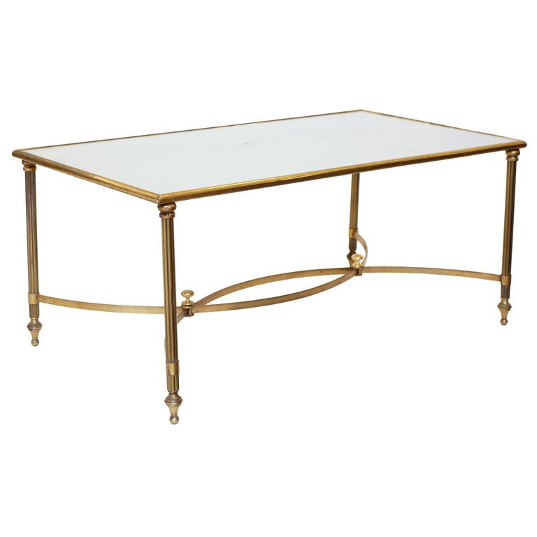 Art Deco Brass Glass Coffee Table France Circa 1940s French Art