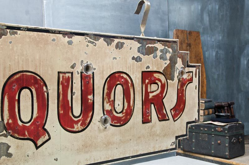 vintage neon box sign LIQUORS art deco stepped design rarity double sided