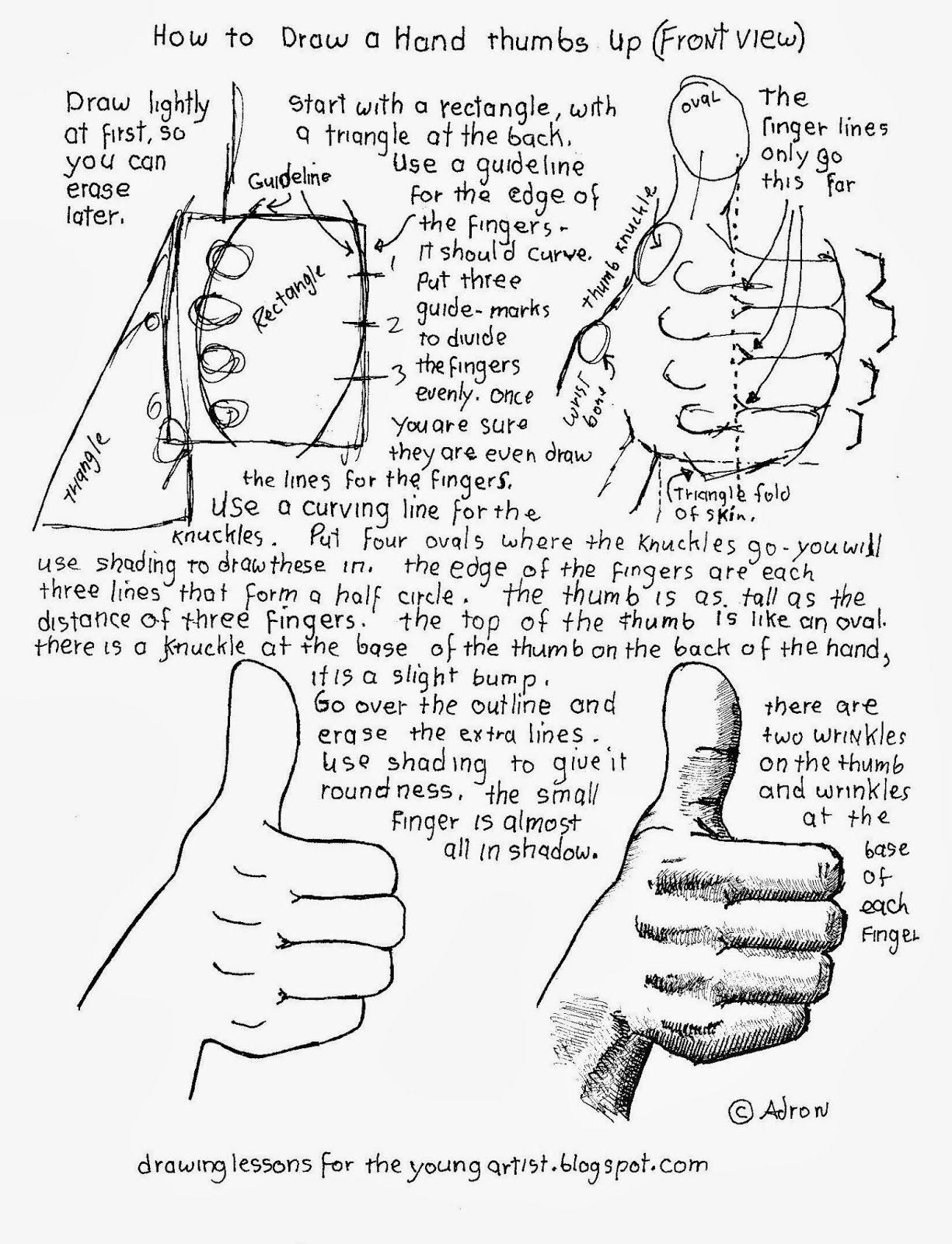 Free How To Draw A Hand Thumbs Up Front View Worksheet