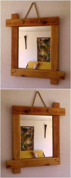 simple pallet mirror idea | muebles y decoración | Pinterest ...