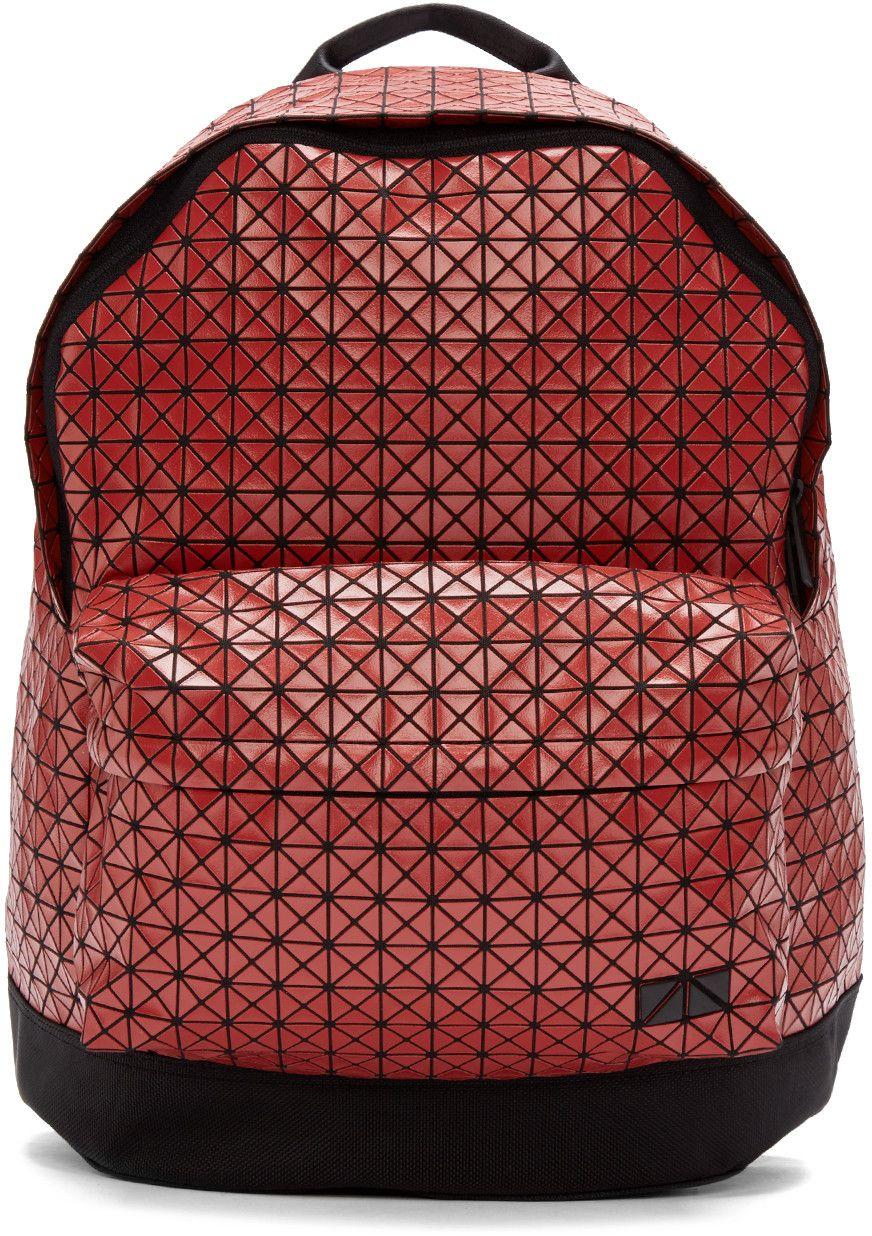 1c553cf8a718 BAO BAO ISSEY MIYAKE Red Geometric Backpack.  baobaoisseymiyake  bags   canvas  backpacks  cotton