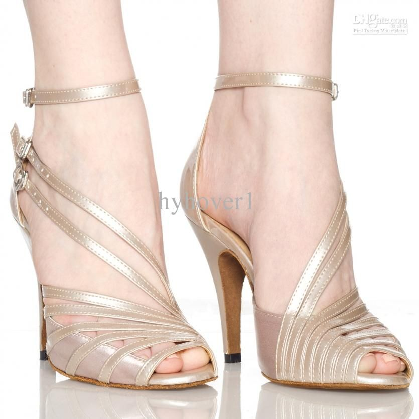 CRC Womens Stylish Peep Toe Skin PU Leather//Satin Ballroom Morden Salsa Latin Tango Party Wedding Professional Dance Sandals