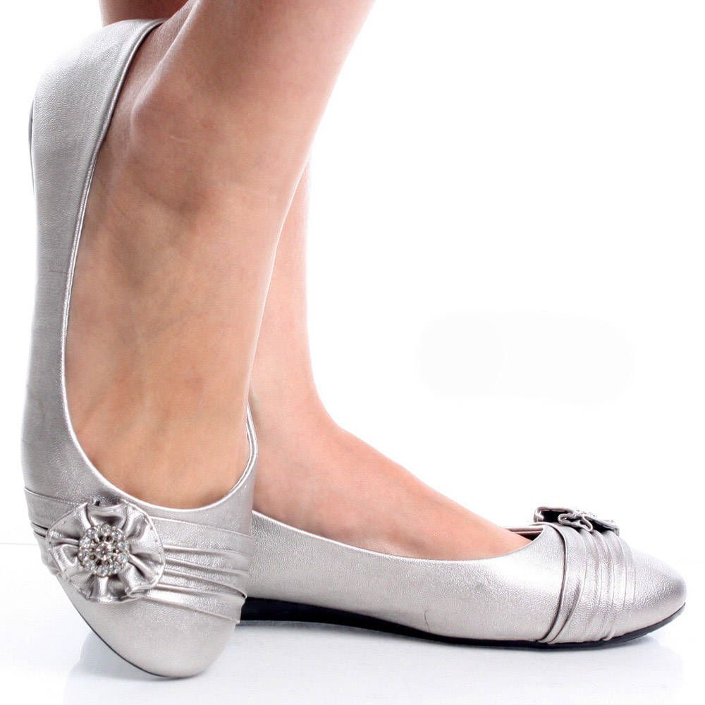 Silver Womens Ruched Rhinestone Flower Bow Slip On Ballet ...