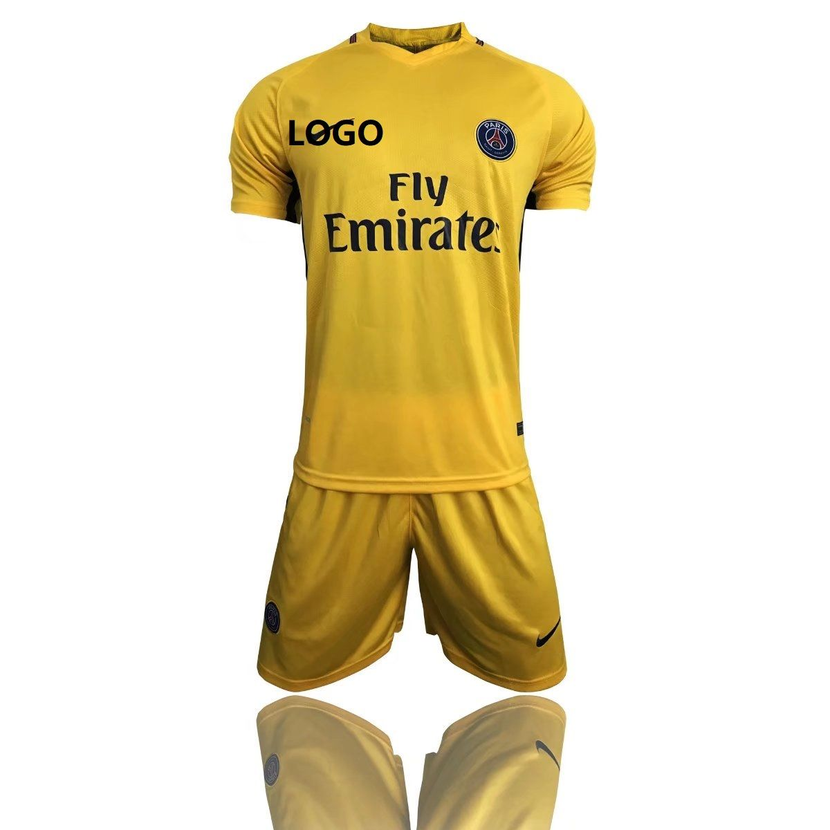 d51302234 17 18 Adult PSG Away Paris Yellow Jersey Uniforms Complete Football Kits Men  Sets