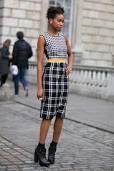Grid pencil skirt