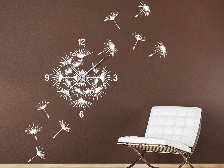 Uhr Pusteblume mit Samen Wanduhr Wandtattoo uhr, Wandtattoo und - wanduhr design wohnzimmer