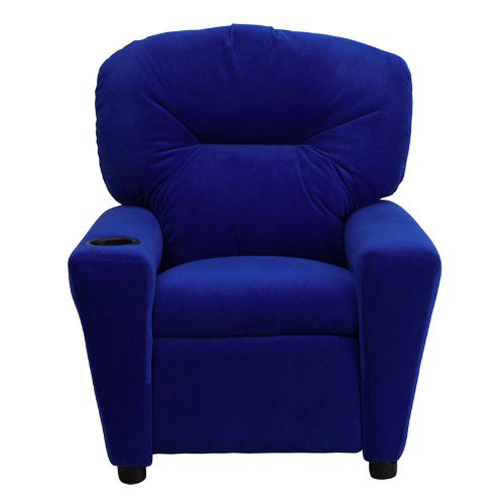 Best Kids Recliner Armchair With Cup Holder Blue Microfiber 400 x 300