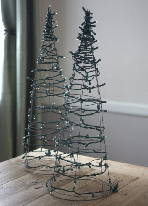 Tomato Cage Christmas Trees...I think even I could do this. #outdoorchristmasdecorations