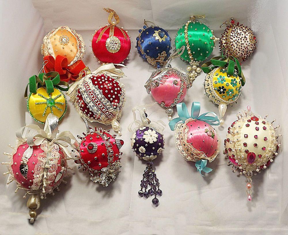 Vintage Silk And Bead Handmade Christmas Ornaments Lot Of 25 Seqiuns Tassles Beaded Christmas Ornaments Christmas Ornaments Handmade Christmas Ornaments