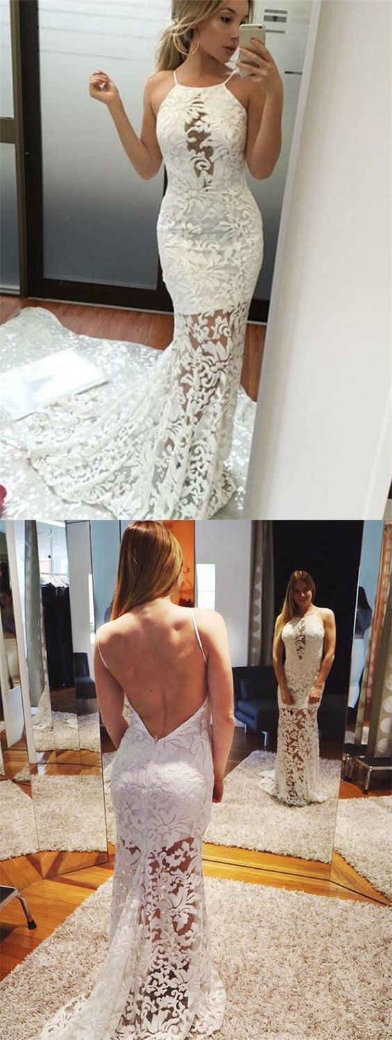 Mermaid halter backless sweep train white lace prom dress in