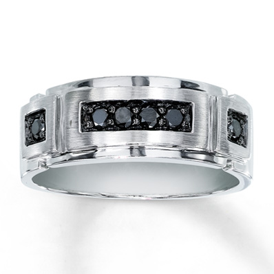 Jared Mens Black Diamond Band 14 ct tw Roundcut 10K White Gold