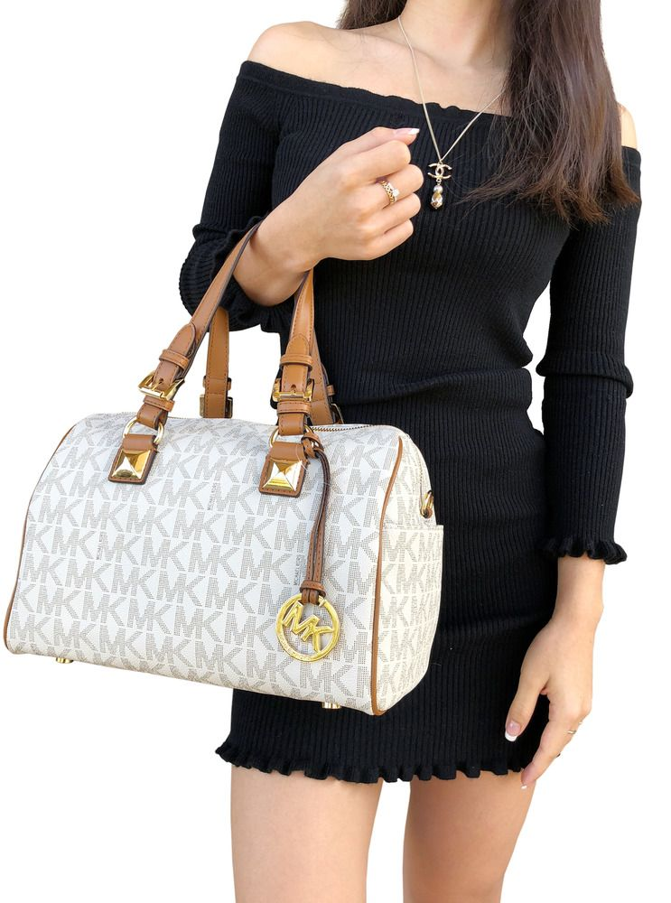 347f7248d73c Michael Kors Grayson Medium Chain Satchel Vanilla MK Signature Acorn  Crossbody  MichaelKors  Satchel