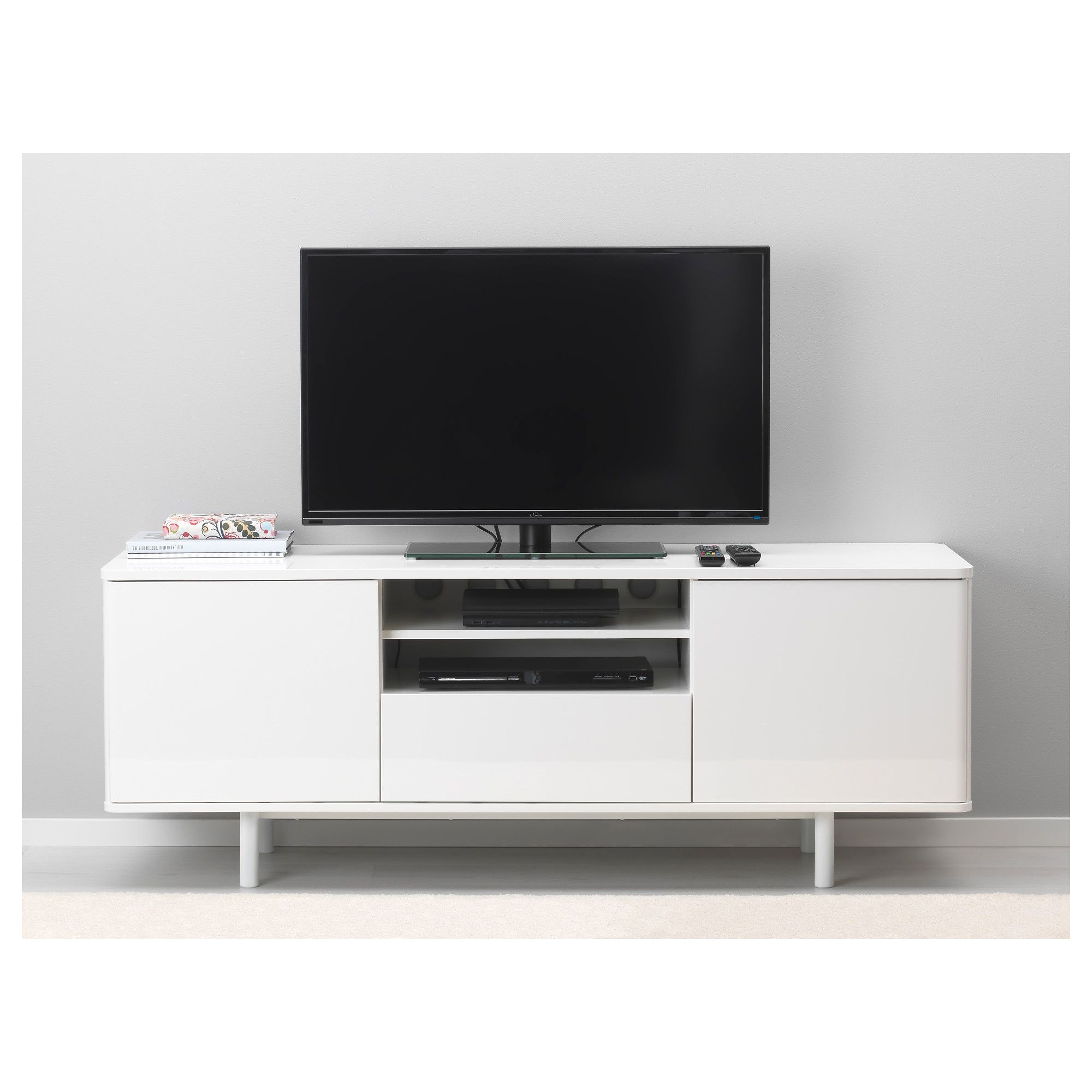 Mostorp Tv Bench White 159×46 Cm Tv Bench Large Drawers And Tv  # Meuble Tv A Roulette Ikea