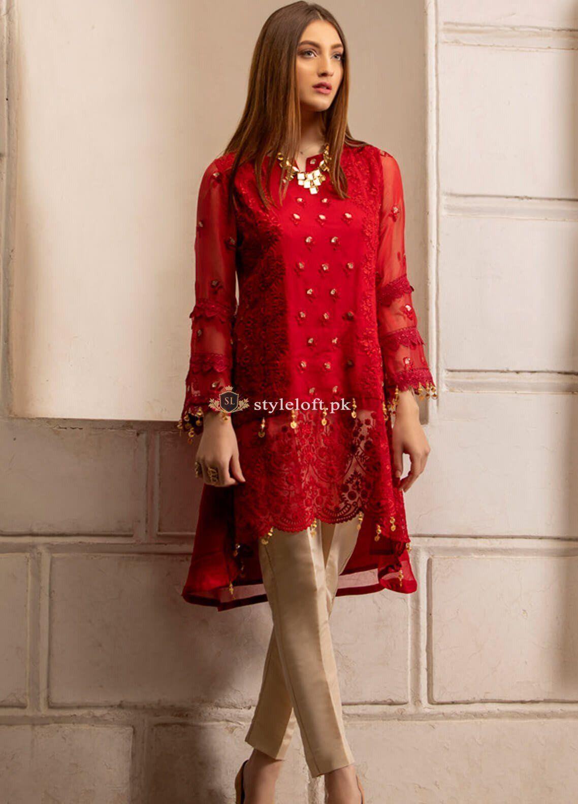 046b436089 Azure Embroidered Chiffon Unstitched Kurti-Luxury Collection #StyleLoft  #fashion2019 #womensclothing #onlineshopping