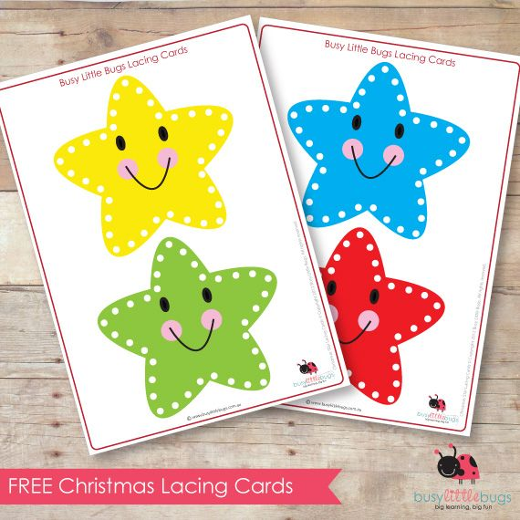 free christmas star lacing cards by busy little bugs christmas