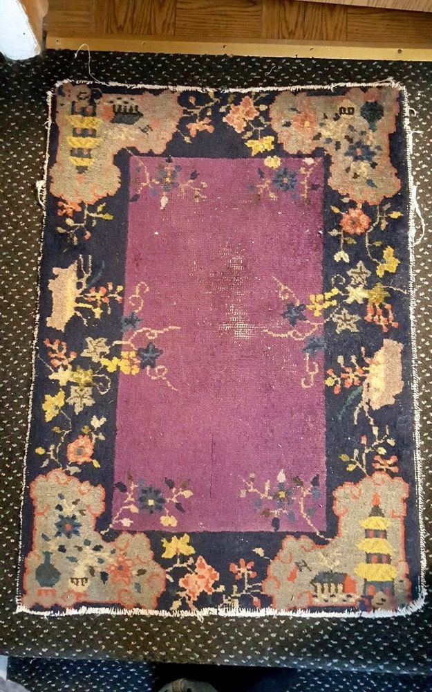 Vintage Hand Knotted Wool Chinese Art Deco Rug Carpet Blue Taupe