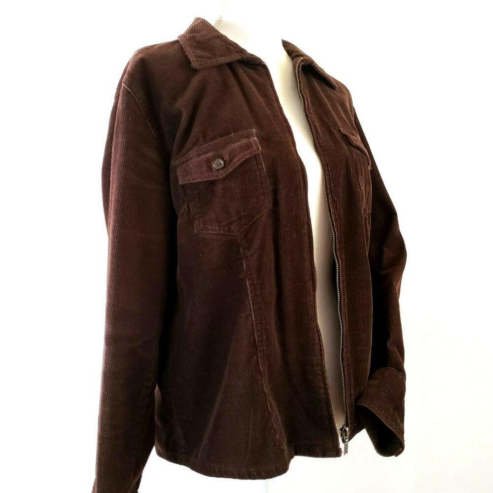 Sonoma Lifestyle Full Zip Corduroy Jacket Brown Large Sonoma Jacket Casual With Images Corduroy Jacket Jackets Jackets For Women