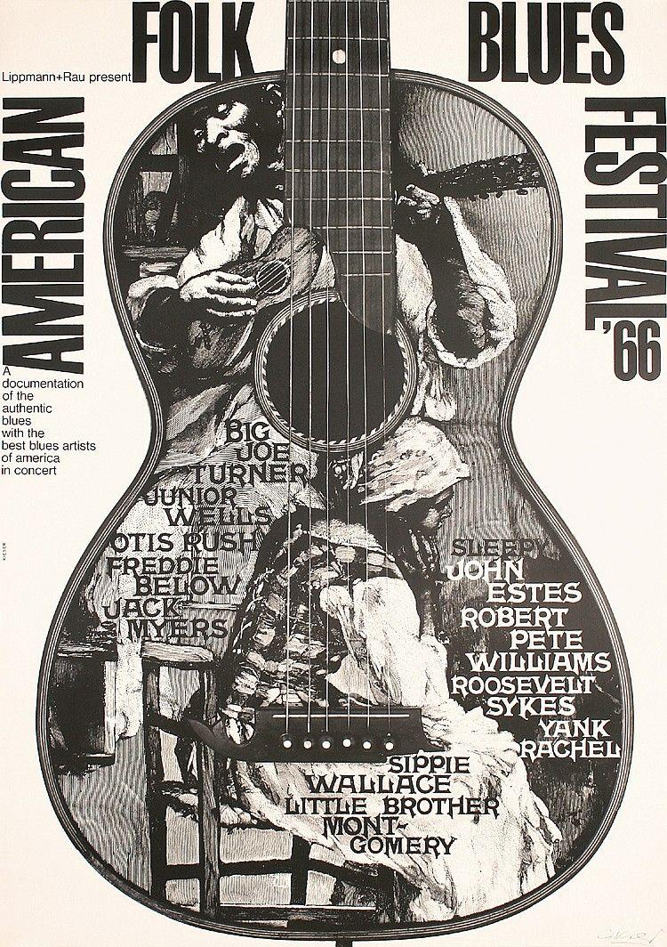 Original 1960s American Folk Blues Poster KIESER SIGNED