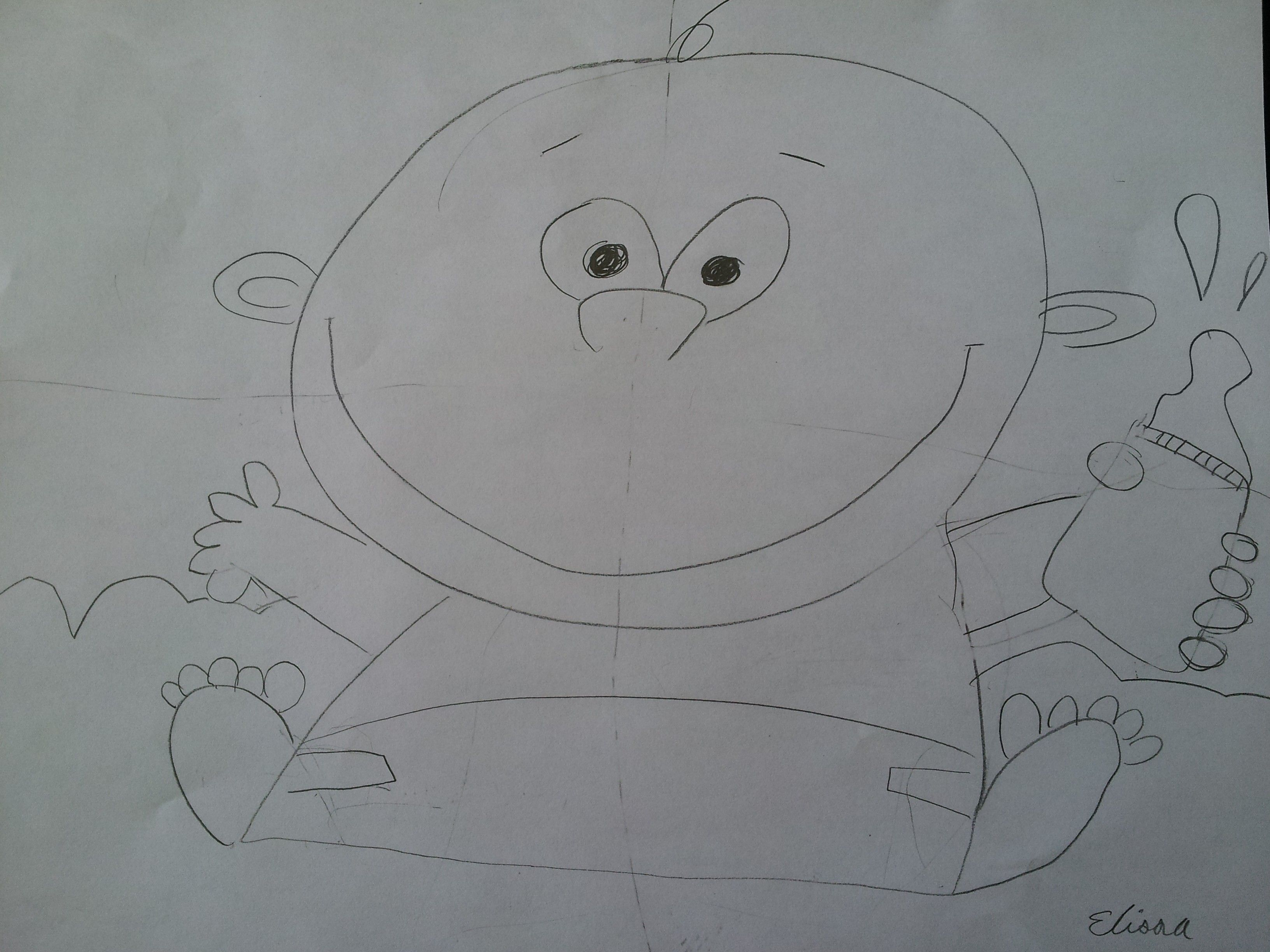 My Nine Year Old S Cartoon Drawing Of A Baby