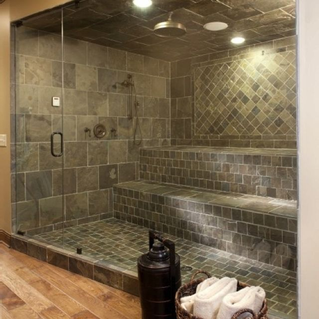 Stone Shower- like the tile color