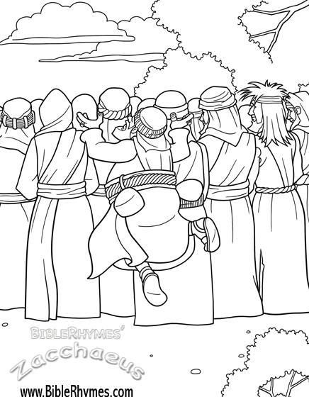 Zacchaeus Jumps To See Jesus Biblerhymes Bible Coloring Pages Bible Coloring Zacchaeus