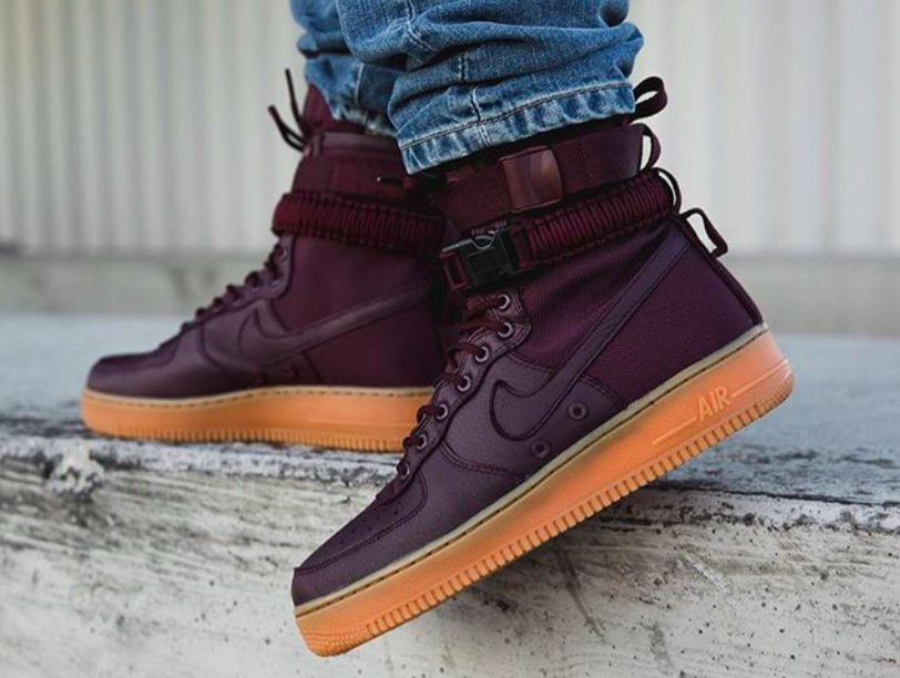 The Nike SF-AF1 High Deep Burgundy is featured in a lifestyle look and it s e57c00985