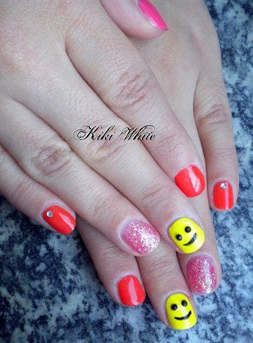 Smiley faces on my nails by Kiki_White - Nail Art Gallery nailartgallery.nailsmag.com by Nails Magazine www.nailsmag.com #nailart