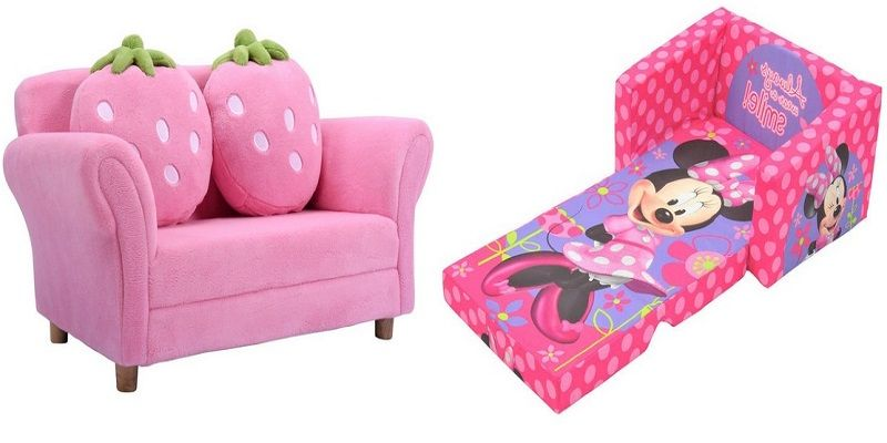 Kids Flip Chair Sofa Sleeper Lounger Fold Convertible Bed Pink Furniture