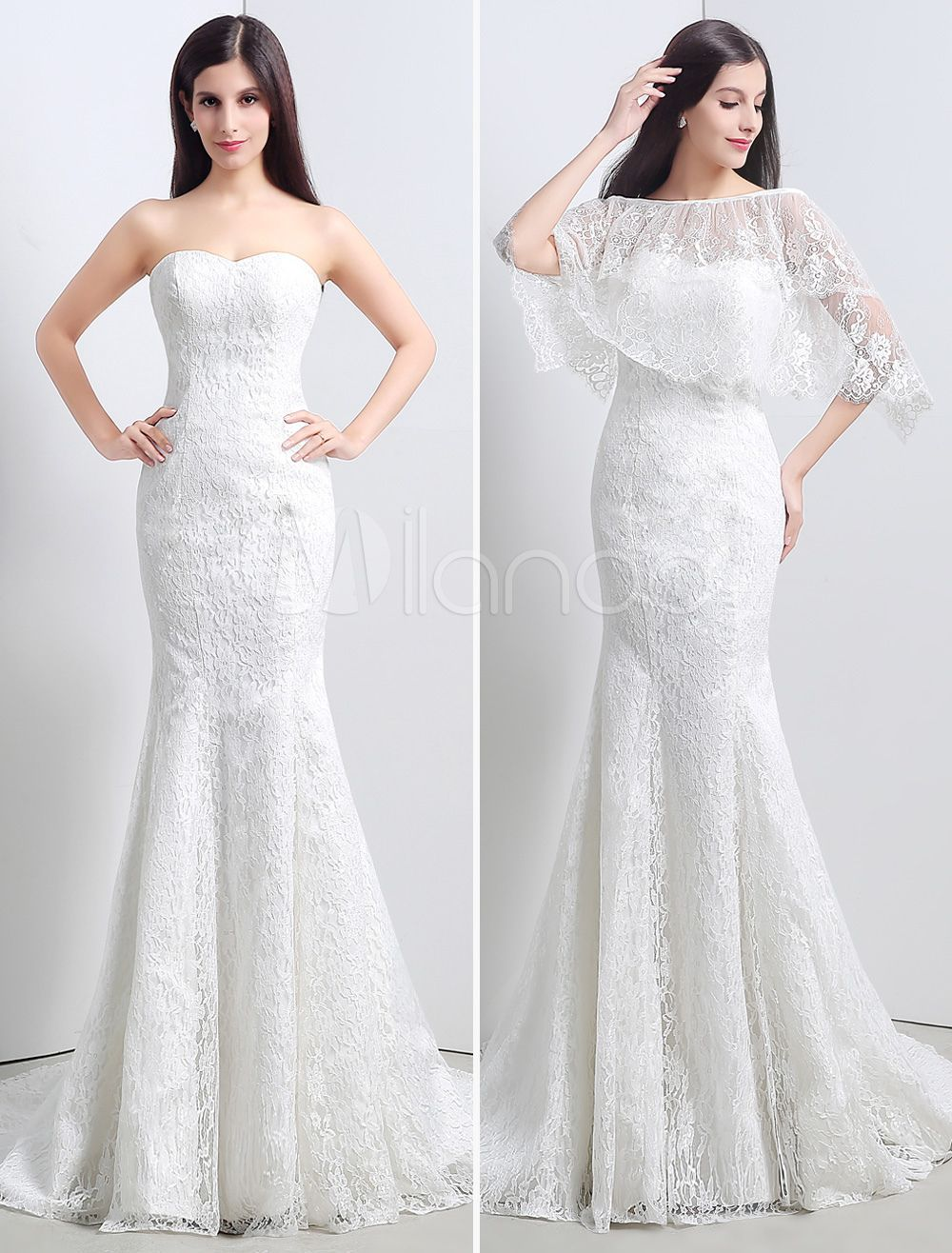 Lace Sweatheart Trumpet Mermaid Wedding Dress With Lace Cape