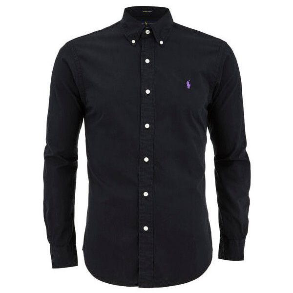 Polo Ralph Lauren Men s Plain Slim Fit Long Sleeve Shirt - Polo Black  ( 100) ❤ liked on Polyvore featuring men s fashion, men s clothing, men s  shirts, ... 7bb9c83323bc