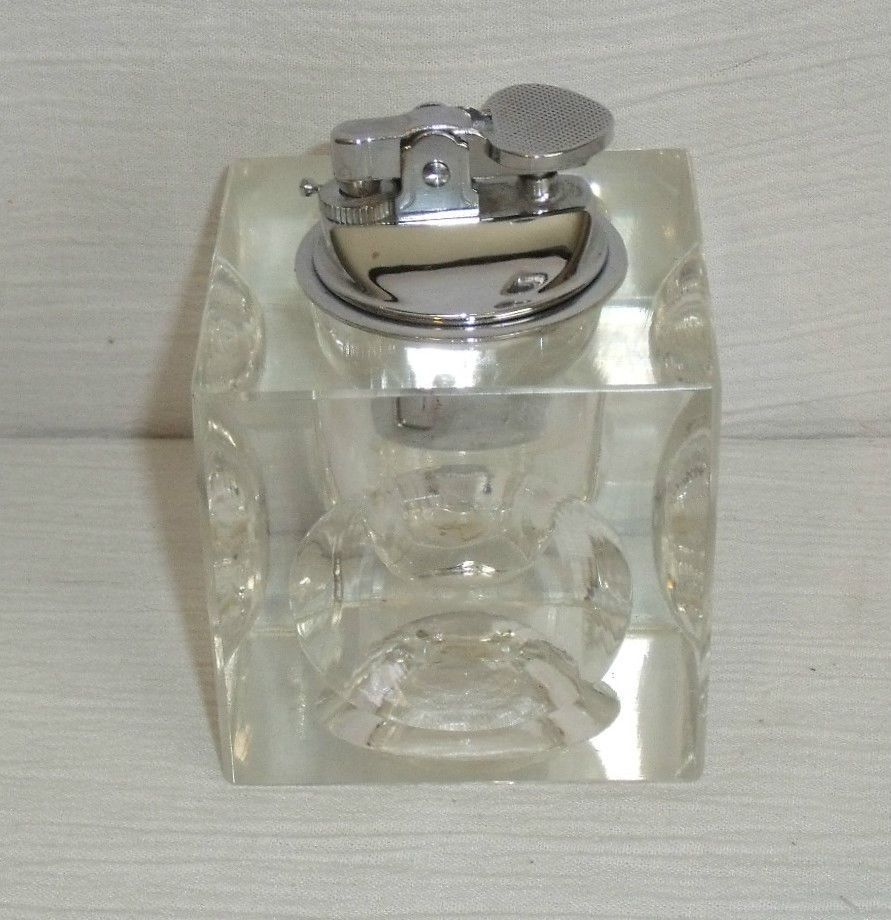 Table Top Lighter Crystal Glass Block Square 3 25 Cube Vtg Mid Century Mad Men Glass Collection Glass Blocks Table Top Lighting
