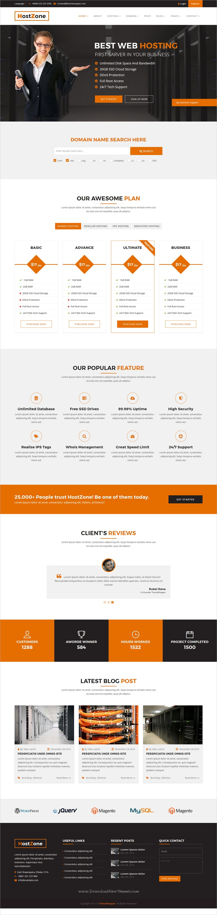explore domain hosting website template and more