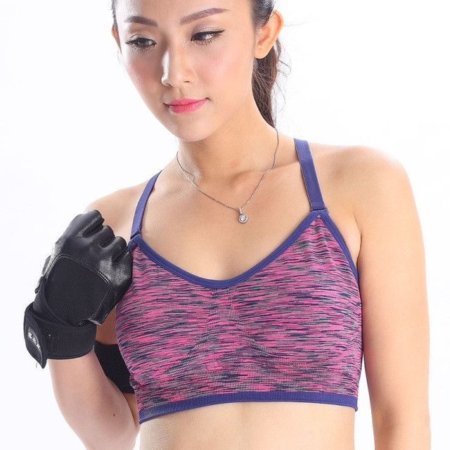 8651dd15dee18 Women Fitness Yoga Sports Bra For Running Gym Adjustable Spaghetti Straps  Padded Top Seamless Top Athletic Vest S M L