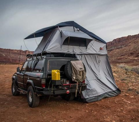 Autana Ruggedized roof top tent rear view with annex attached - Haze Grey & Autana Ruggedized roof top tent rear view with annex attached ...