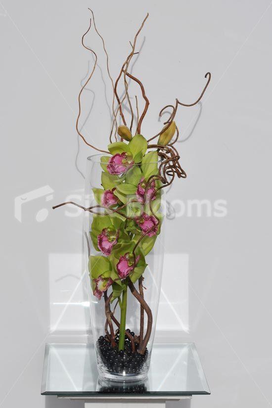 Modern Artificial Green And Pink Cymbidium Orchid Floral Table Arrangement Modern Artificial Green And Flower Arrangements Cymbidium Orchids Corporate Flowers
