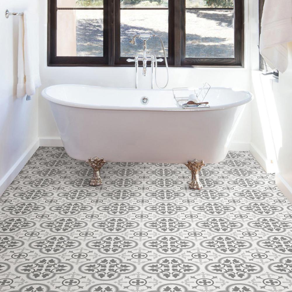 Floorpops Remy Peel And Stick Floor Tiles 12 In X 12 In 20 Tiles 20 Sq Ft Grey In 2020