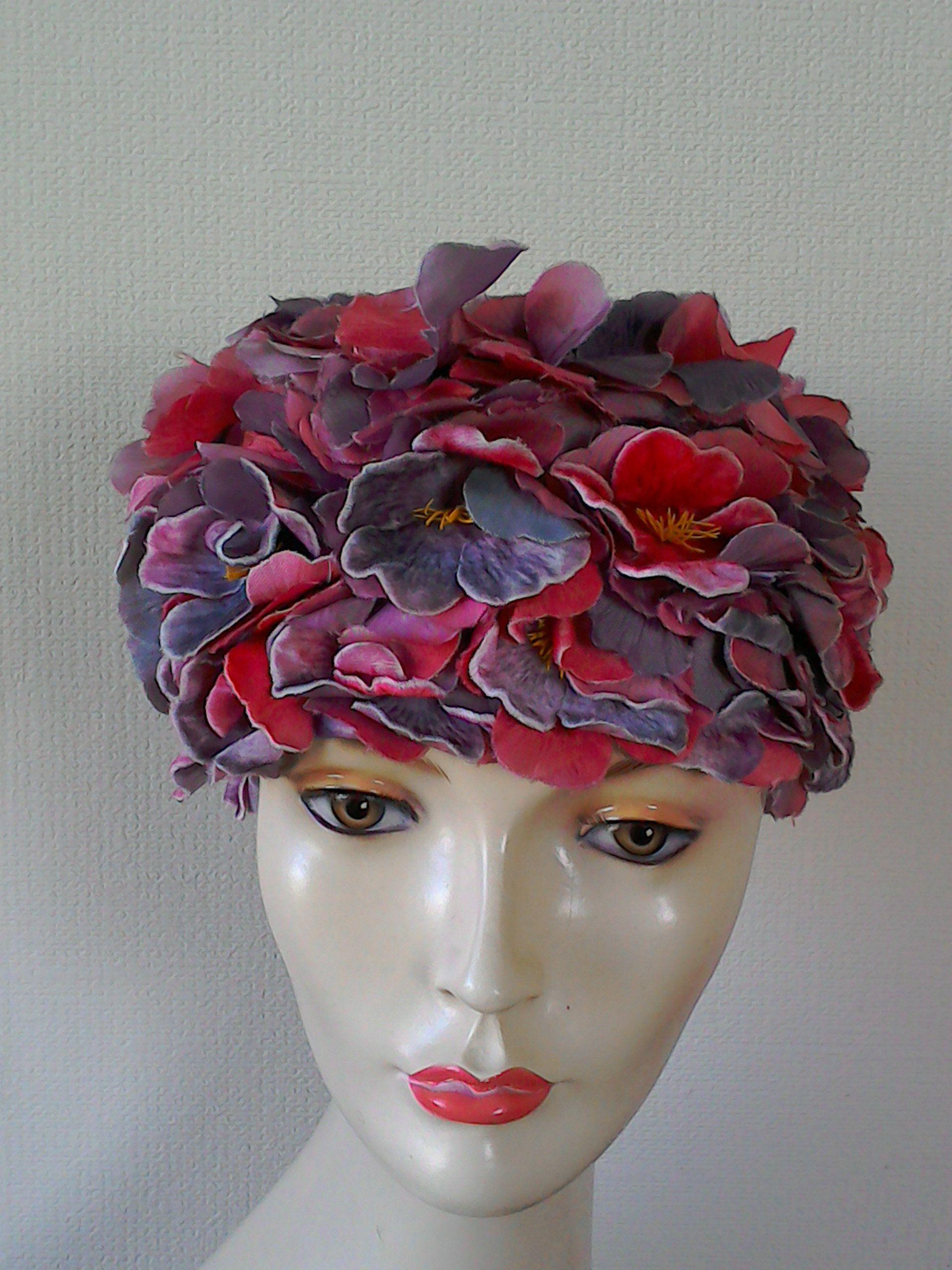 Vintage Hat 1960s Womens Hats Pink Purple Velvet Flowers Etsy Vintage Wedding Hats Velvet Flowers Hats Vintage