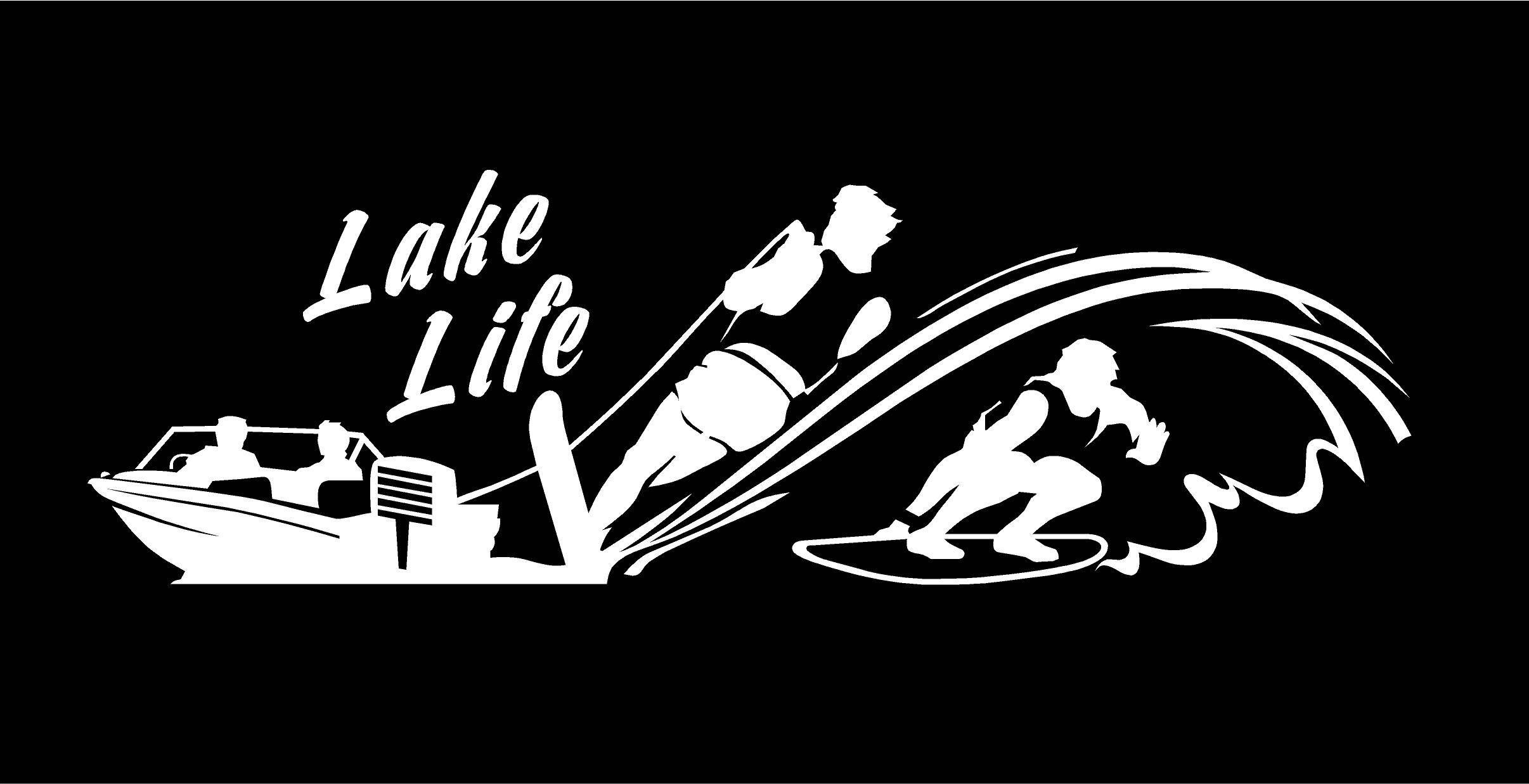 Lake Life Decal Water Skier decal Wake surfer decal Boat