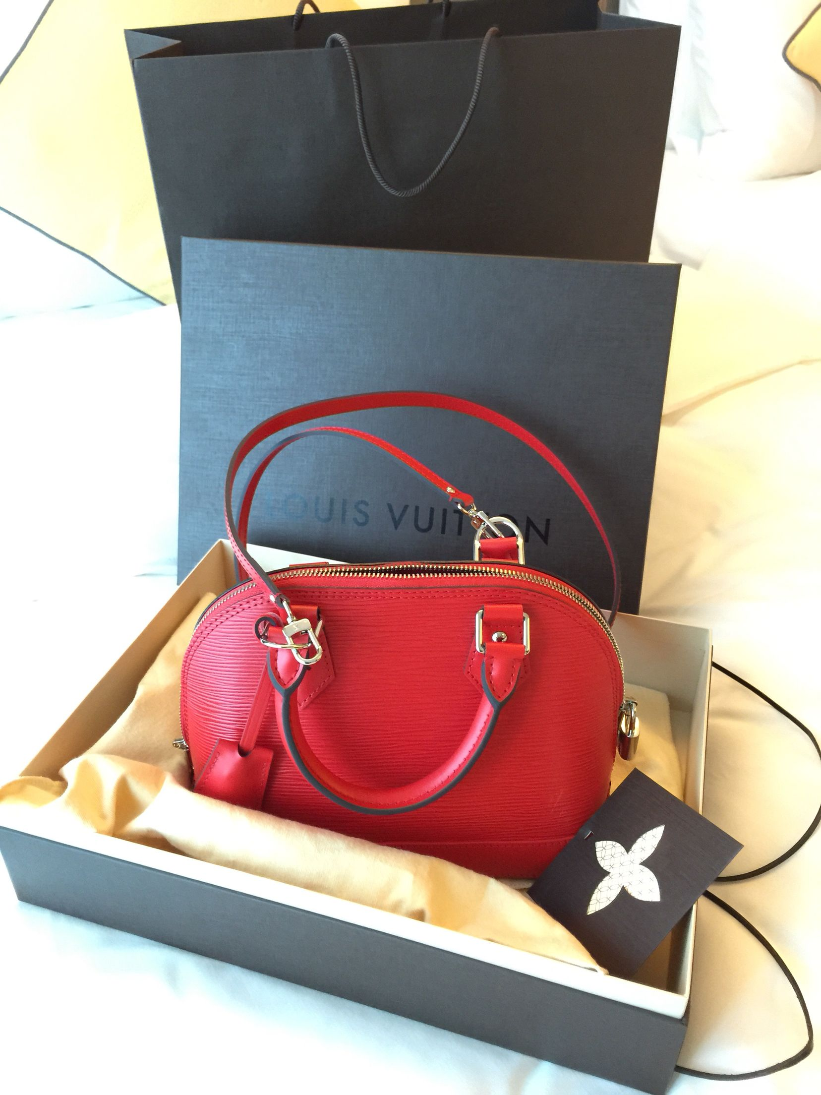 Louis Vuitton Alma BB in Epi Leather Rouge Coquelicot