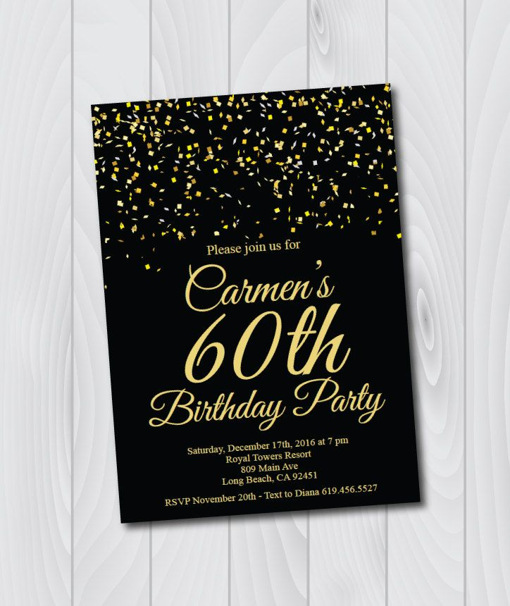 Any Age 60th Birthday Invitation Printable Gold Black